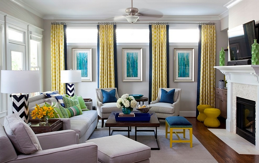 سبز و زرد و فیروزه ای در طراحی داخلی