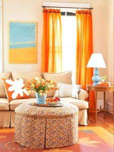 نارنجی آبی و زرد در طراحی داخلی